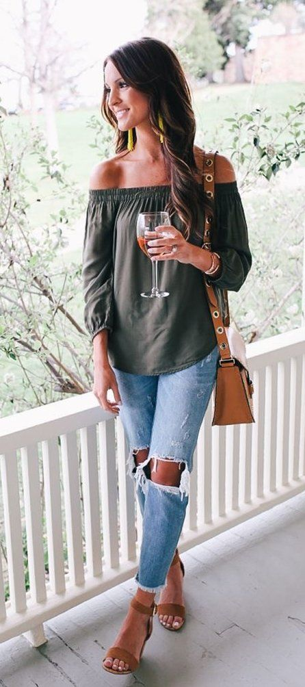 #summer #outfits  Green Off The Shoulder Top + Destroyed Jeans + Nude Sandals