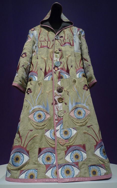 Grayson Perry. Peacock eye coat. Pea green and blue eyes