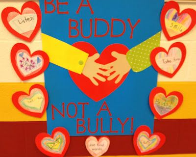"""Be A Buddy Not A Bully""-students brainstorm action words that describe how to be a good buddy."