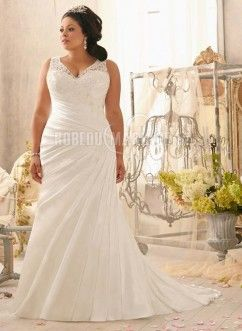 Magnifique robe de mariée grande taille col en cœur dentelle satin