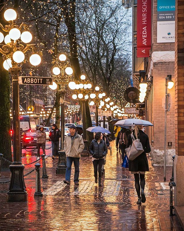 The Yellow Brick Road  . The wonderful Water Street of Gastown. Street lamps cast a golden glow off the rain soaked 'sett' sidewalks. Captured Thursday evening from the corner of Abbott and Water Street in Vancouver British Columbia Canada  February 1 2018  . . . . . #Gastown #Vancouver @Vancouver_Canada #VeryVancouver #VisitaVancouver #CuriocityVan #VancityFeature #Photos604 #604Now #VancouverIsAwesome #ExploreBC #ExploreCanada #TheGlobeWanderer #EnjoyCanada #World_Shotz #CanonCanada…