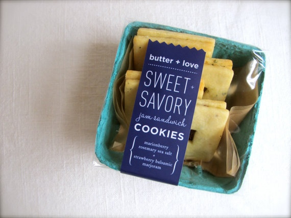adorable berry box packaging by janet kim for jam-filled cookies from butter + love.