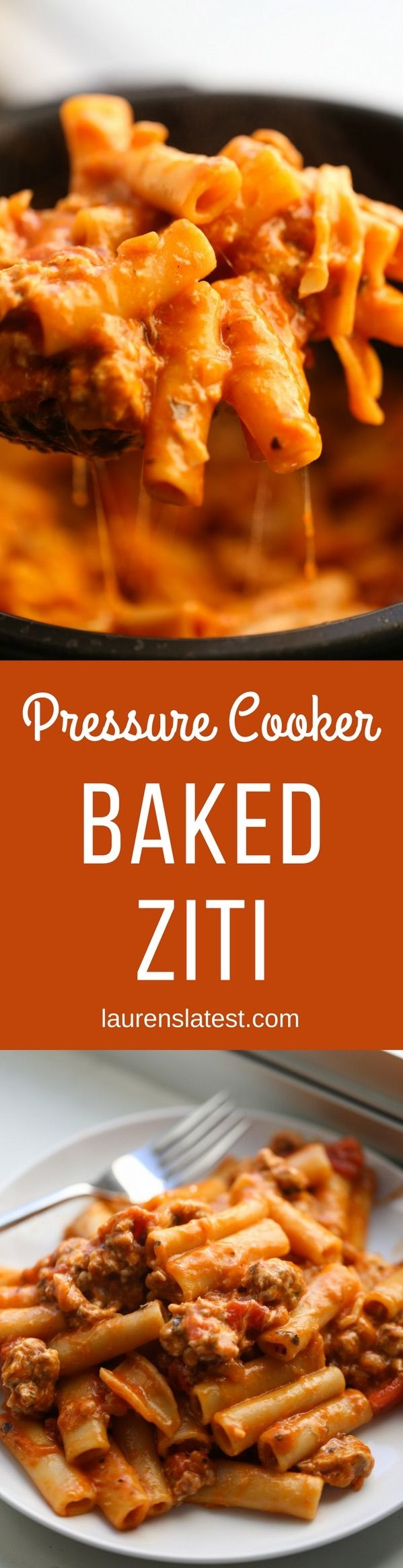 Pressure Cooker Baked Ziti--Get the cheesy, slow-cooked flavor found in a traditional Baked Ziti right out of your pressure cooker! In only 25 minutes, you could be enjoying this delicious Italian dinner without all the wait time or work.