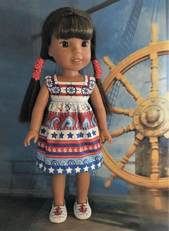 """Doll Clothes Fits 14/"""" Wellie Wishers American Girl Red Sailboat Nautical Dress"""