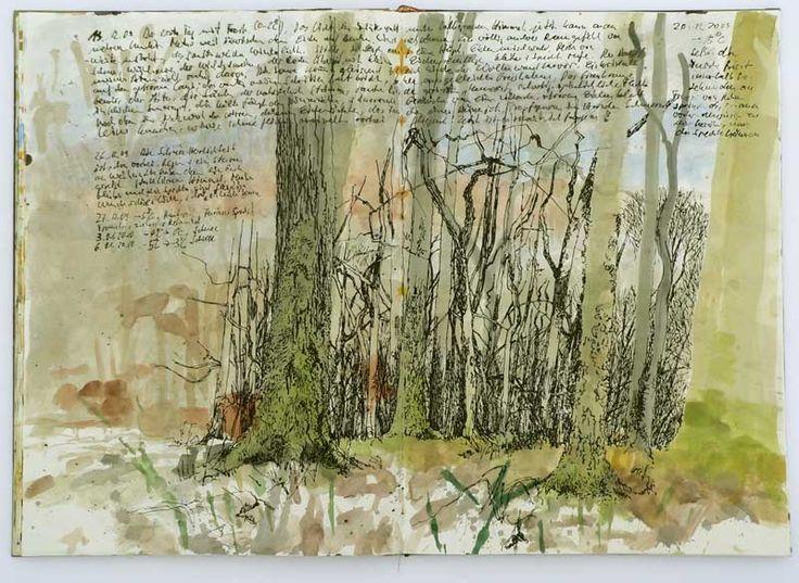 lovely watercolor w/ pen, ink