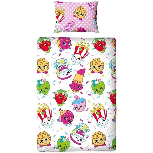 Shopkins Jumble Single Duvet Cover Set (25 CAD) ❤ liked on Polyvore featuring home, bed & bath, bedding, duvet covers, patterned pillowcases, pink pillowcase, patterned duvet, patterned bedding and patterned pillow cases