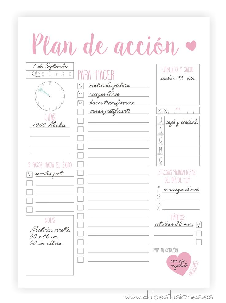 Imprimibles – Agenda – Plan de acción | Repostería creativa y Tienda online