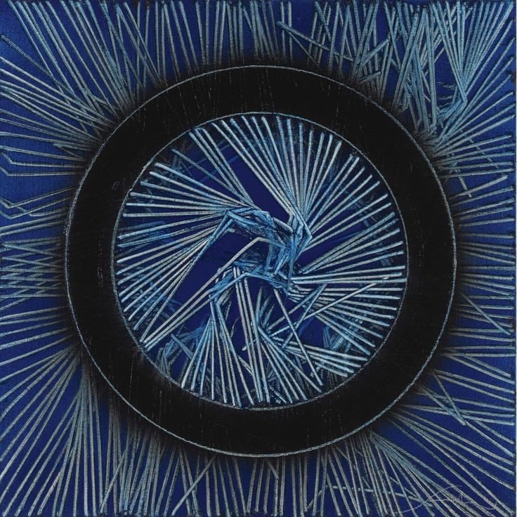 Emilio Scanavino (Italian, 1922-1986),Texturing with Circle on Blue, 1980. Oil on canvas.