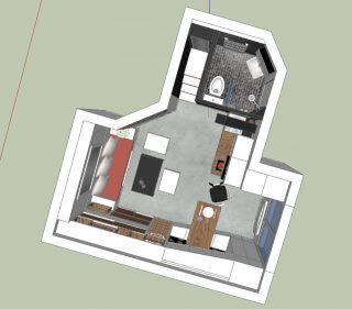 Alaprajz - Maximális helykihasználás, többfunkciós bútorok - egy 18m2-es mini lakás berendezése