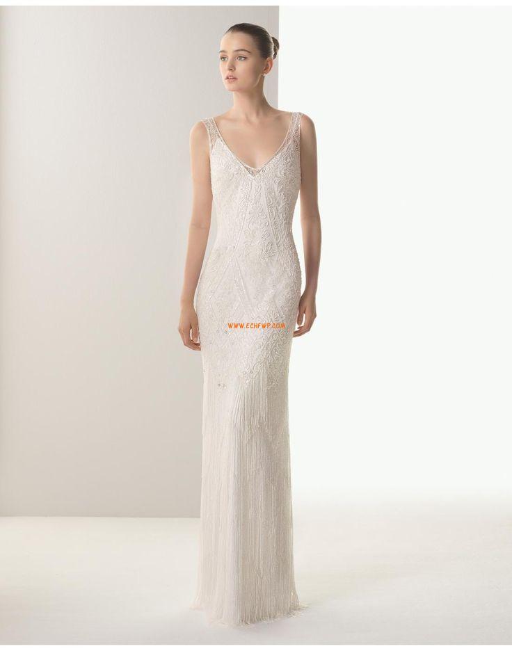 Klasické & nadčasové Bez rukávů Nášivky Svatební šaty 2015
