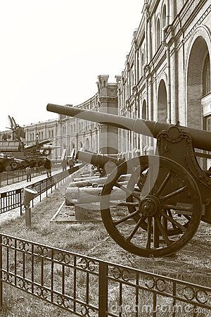 Old cannonry in exposition under open sky. The territory of the Military-historical Museum of Artillery, engineer and signal corps. St. Petersburg, Russia