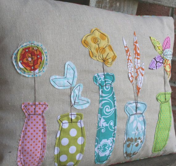 Shabby Pillow Sham Bud Vases Spring Pillow by MadisonReeceDesigns, $21.00