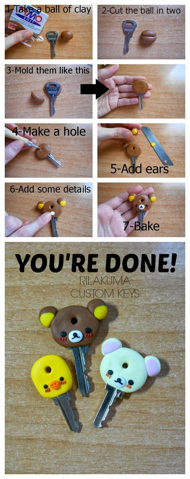 DIY Rilakkuma polymer clay custom keys tutorial https://www.pinterest.com/dijohn13/polymer-clay-charms/