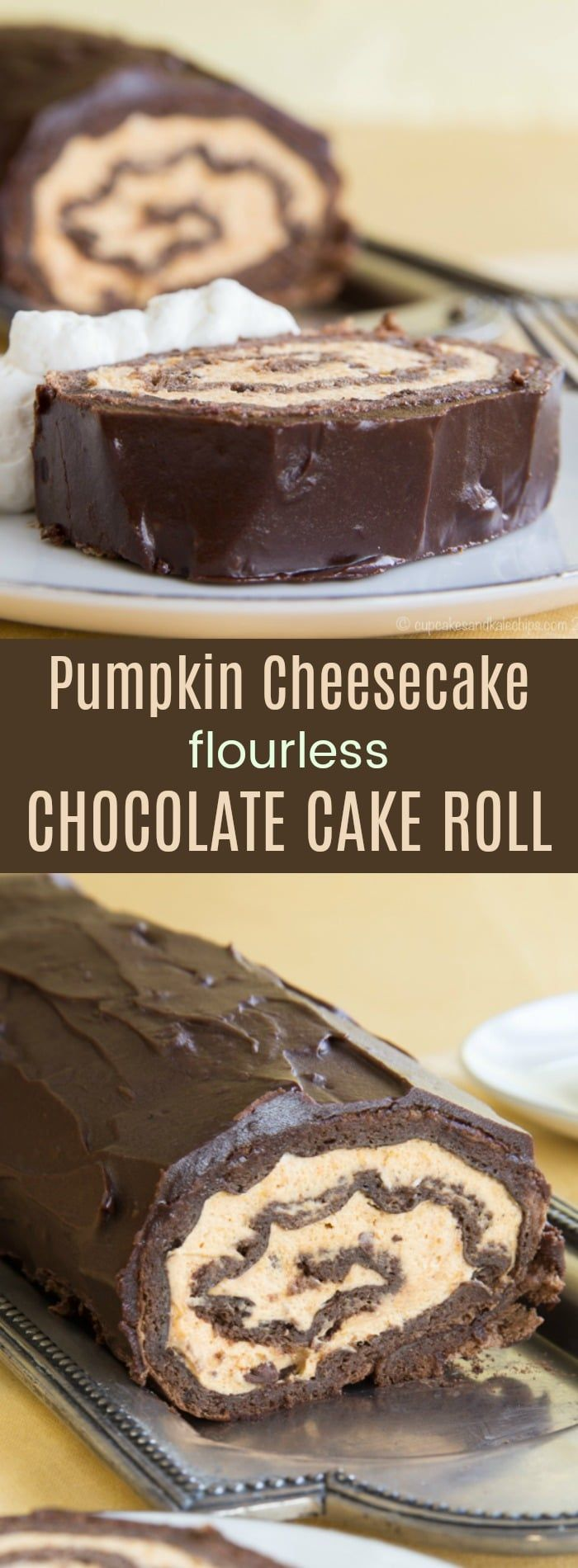 Pumpkin Cheesecake Flourless Chocolate Cake Roll - an impressive but easy dessert recipe for fall. Pumpkin mousse is rolled in a gluten free chocolate cake and topped with chocolate ganache.