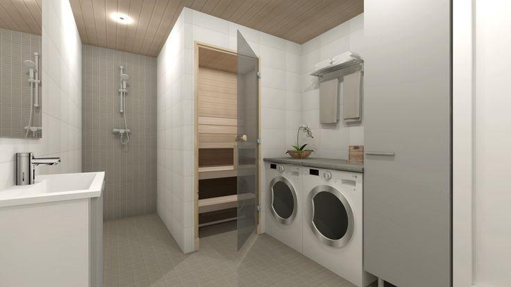 3D- stailaus ja sisustussuunnittelu ennakkomarkkinoinnissa olevaan kohteeseen / moderni harmaa-valkoinen kylpyhuone proline antrasite koossa 10x10 lattialla, mosaiikkilaatta proline 25x38 suihkun taustalla, mattavalkoinen laatta 25x40/ Kone ja Rakennuspalvelu Kara Oy, Paimio/ 3D-sisustus Tilanna, sisustussuunnittelija Jyväskylä