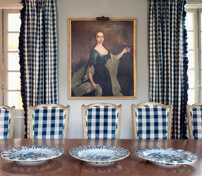 """For the love of checks - Andrew Maier.  Those chairs would look great in our PK Lifestyles fabric """"Raleigh Ikat"""""""