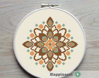 modern cross stitch pattern flowers & hearts por Happinesst en Etsy