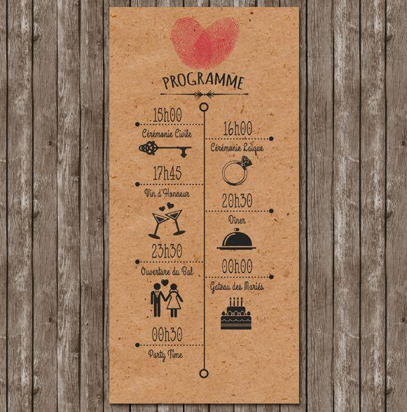 faire-part-mariage-empreinte-programme-vintage-kraft-retro