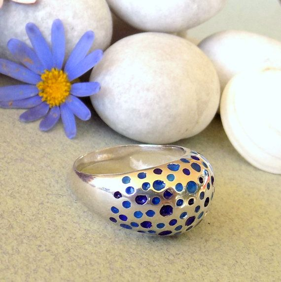 SILVER ENAMEL RING/Sterling silver ring/multicolor ring/art jewelry/ handmade ring/women gift/ mother's day gift/summer gift/blue ring