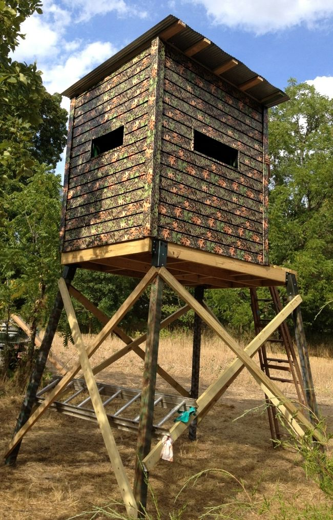 Deer blind plans deer blinds and texas hunting on pinterest for Tree stand blind ideas