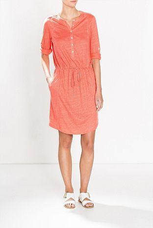 Linen Henley Dress