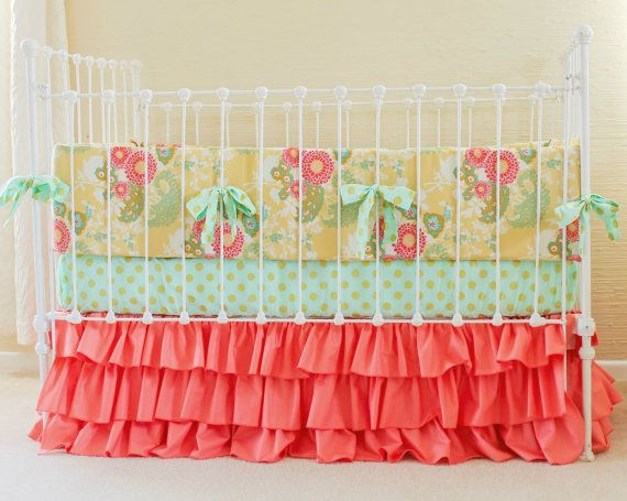 Hey, I found this really awesome Etsy listing at https://www.etsy.com/listing/192782343/coral-mint-gold-crib-bedding-coral-baby