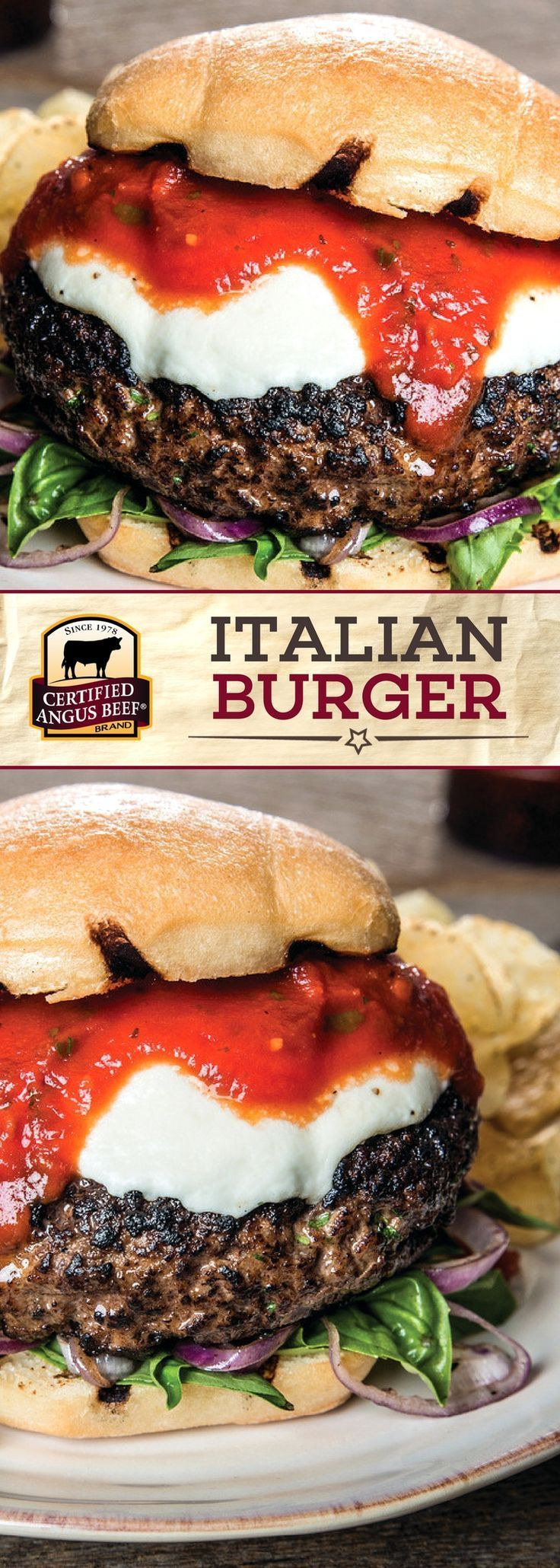 The Certified Angus Beef®️️️️️ brand Italian Burger is on a whole new LEVEL of delicious! The BEST ground chuck is combined with a flavorful blend of Italian seasoning, and is topped with fresh mozzarella and your favorite spaghetti sauce for an unbelievable burger recipe. Serve on focaccia bread for the best results! #bestangusbeef #certifiedangusbeef #beefrecipe #burgerrecipe