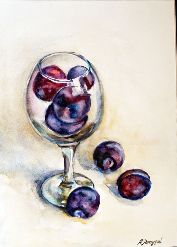 Watercolor fruits original watercolor painting still life