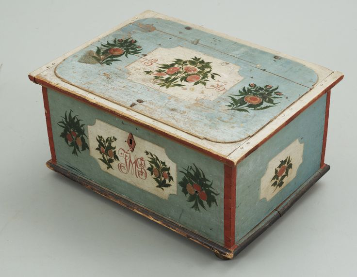 Painted Wooden Box, Hälsingland, Järvsö, Sweden, 1836 | Painted Furniture  And Decorative Objects | Pinterest