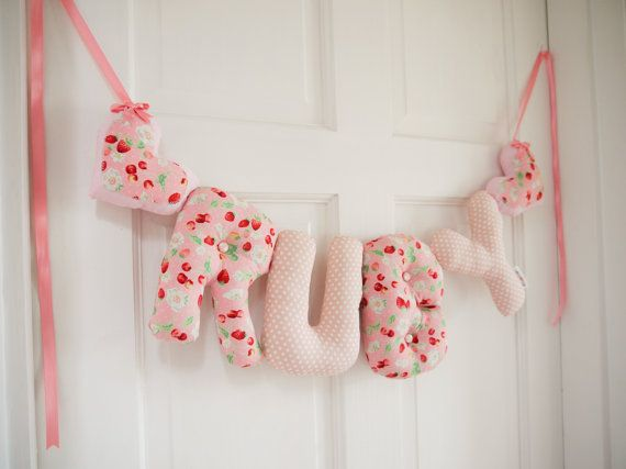 Ruby - Personalized Baby name wall hanging. Light pink strawberries and peach. New baby girl Christening gift, baby shower, name banner.