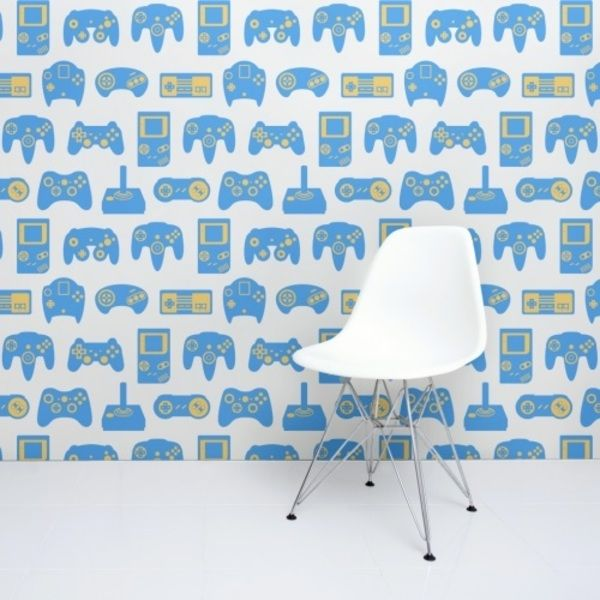 Whether it's a dedicated room in your own apartment or the tiny spare room you and your love of gaming have been consigned to, make it even better with a mural of classic gaming controllers #retro #gaming #wallpaper #room #decorator #art #london #love