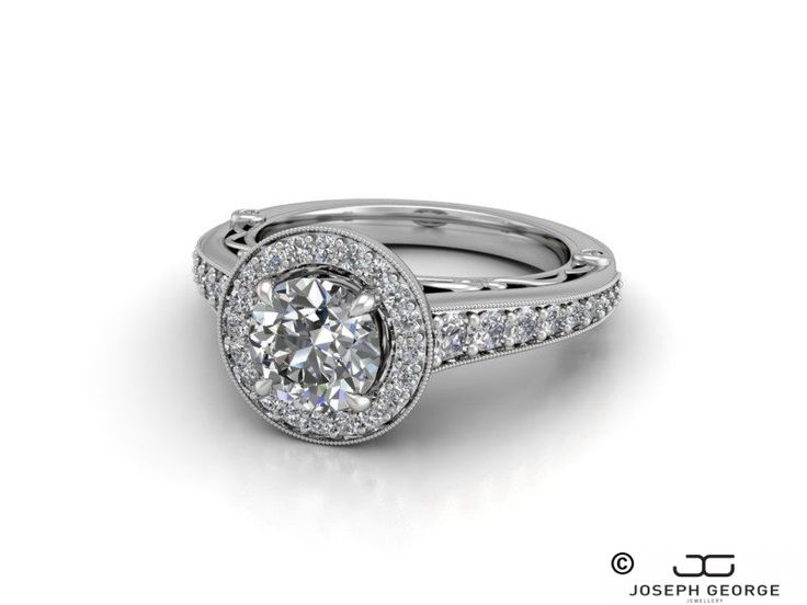 Round Halo Engagement Ring Ira with Graduating Side Stones - Joseph George - http://www.josephgeorge.com.au/?p=8873 -