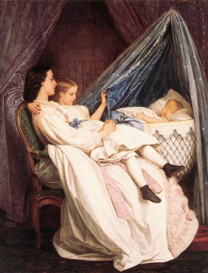 < The new arrival >, 톨무슈. 어머니가 딸과 함께 새 식구를 바라보고 있다. 제목이 재미있다. 인자한 표정의 어머니와 신난 소녀.