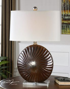 Mattawa Ribbed Ceramic Base Finished In A Metallic Bronze Glaze With Silver Leaf Accents And