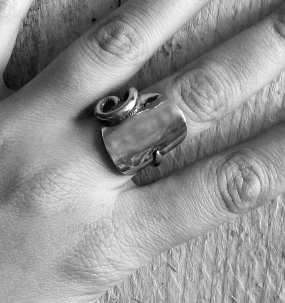 Handmade Cutlery Jewellery - Solid Silver Coffee Spoon Wraparound Ring #cutleryjewellery #silverjewellery #bristoluk #ethicaljewellery #handmadejewellery #recycled #solidsilver #bigcartel #vintage #ethics #uniquegifts #cutleryjewellery #handmade #teaspoon #bristoluk #solidsilverjewellery #drumandfifejewellery #nowaste #recycled #givenasecondlife #handmade #ring #necklace #bigcartel #lukh #ethical #win #ethicalfashion #recycleweek #unusualgift #outsidethebox #handmadejewellery #history