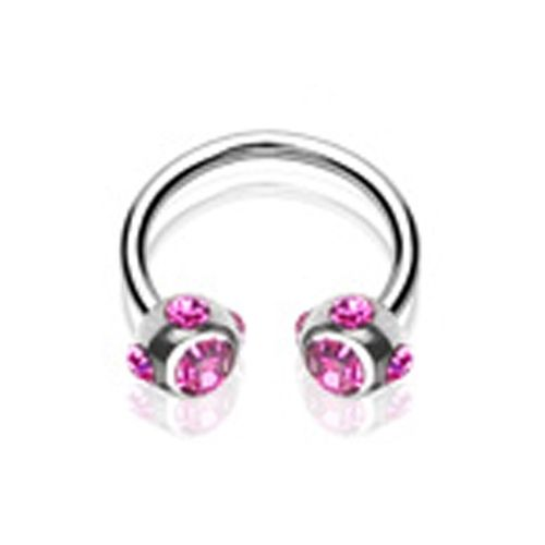 Piercing crystal ball ring roze