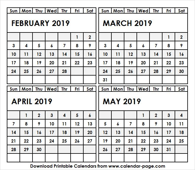 4 month calendar february may 2019