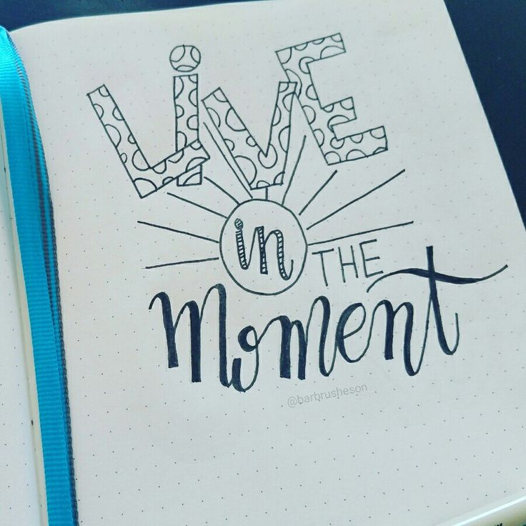 Live in the moment.  Handlettering by @Barbrusheson