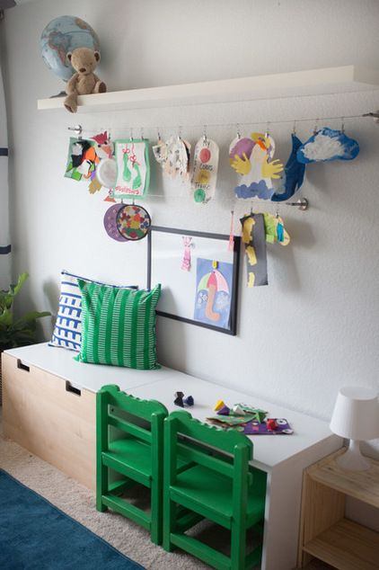 Clip It Up: 8 Ways to Display Kids' Art Creative use of clips and hangers makes it easy to swap your children's masterpieces in and out Eclectic Kids by mollieQUINN Rad Rooms for Baby & Kids