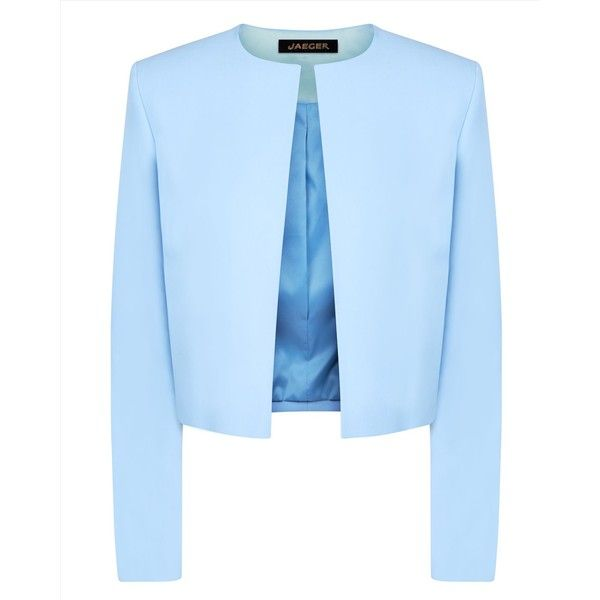 Jaeger Jaeger Cropped Jacket (€135) ❤ liked on Polyvore featuring outerwear, jackets, cropped jacket, lined jacket, blue cropped jacket and blue jackets