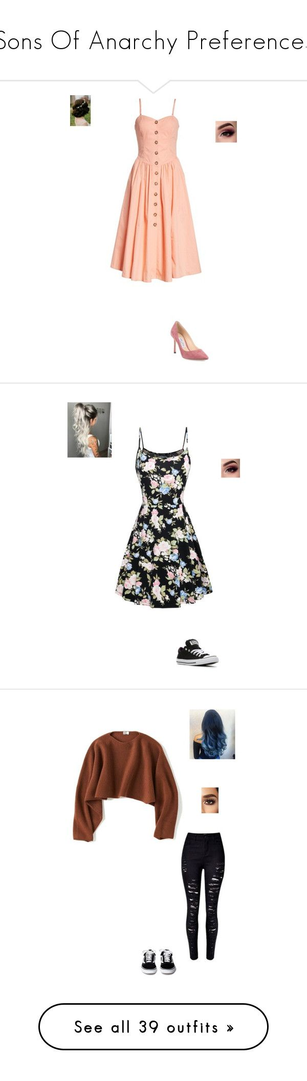 """""""Sons Of Anarchy Preferences"""" by maryvarleyrox ❤ liked on Polyvore featuring Free People, Jimmy Choo, Converse, Uniqlo, River Island, New Look, WithChic, Taya, ASAP and Frye"""