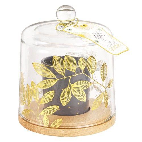 FEUILLAGE - Bougie noire sous cloche en verre imprimé doré