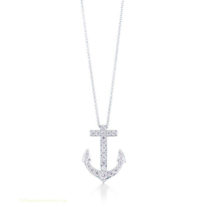 Tiffany Outlet Anchor Charm Diamond Necklace