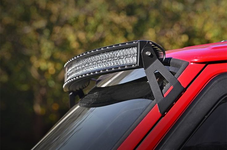 Upper Windshield 54in Curved LED Light Bar Mounting Brackets for 84-01 Jeep XJ Cherokee [70517]   Rough Country Suspension Systems