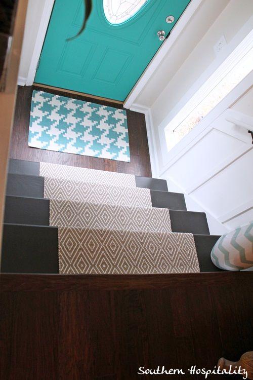 diy stair runner ~ love door/mat <3