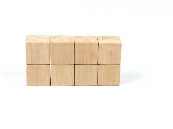 1 1/2 inch Wooden Blocks  Unfinished Wooden Cubes  by beigebois