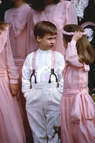 1988 10 08 Prince William, Pageboy in pink braces At The Society Wedding Of Miss Camilla Dunne To The Honourable Rupert Soames At Hereford Cathedral UK