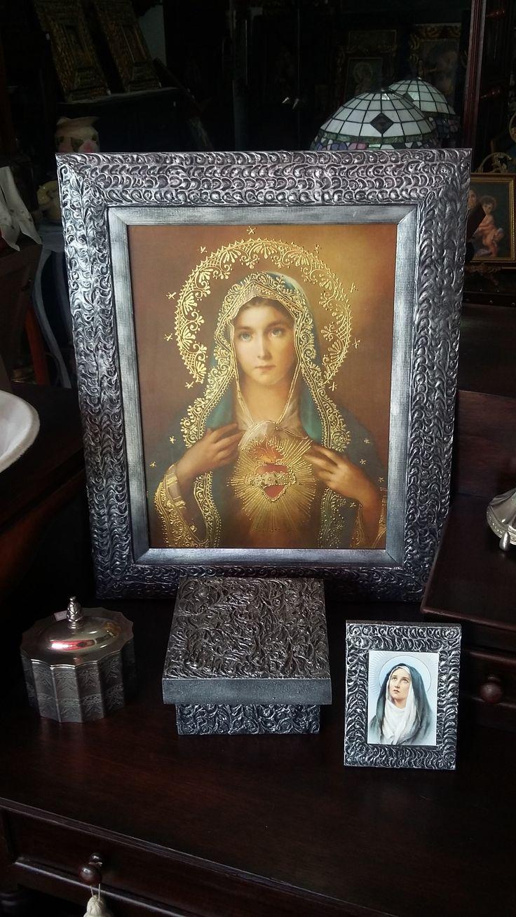 Corazón de María. Marco en madera. Lámina iluminada