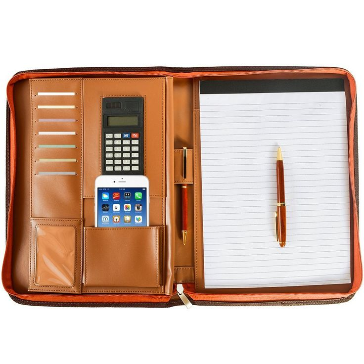 Amazon.com : Arvada & Co PU Leather Portfolio Padfolio Zippered Professional Business Organizer with Calculator & Memo Note Pad - Brown (Brown) : Office Products