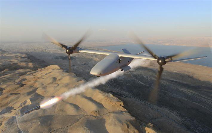 Scarica sfondi drone, la Sterna Tailsitter Drone, il lancio di un missile di veicoli aerei, militari drone, VANT